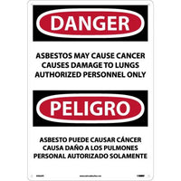 PELIGRO ASBESTOS MAY CAUSE CANCER CAUSES DAMAGE TO LUNGS AUTHORIZED PERSONNEL ONLY, 14 X 20, PS VINYL