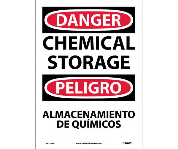 ESD239 National Marker Bilingual English and Spanish Signs Danger Chemical Storage