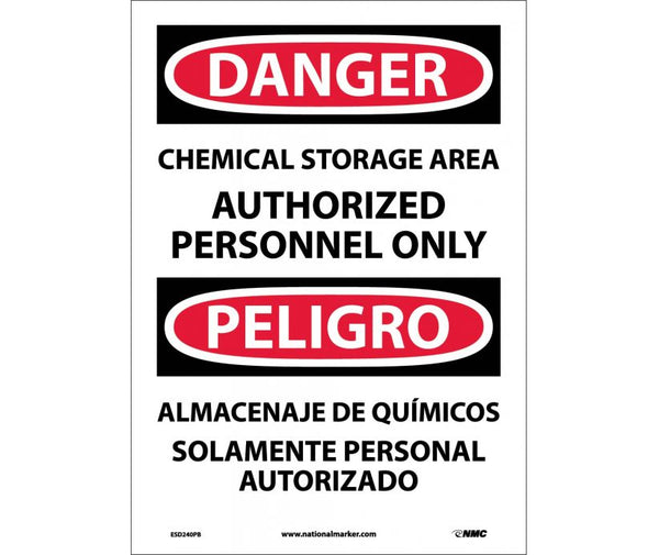 ESD240 National Marker Bilingual English and Spanish Signs Danger Chemical Storage Area Authorized Personnel Only