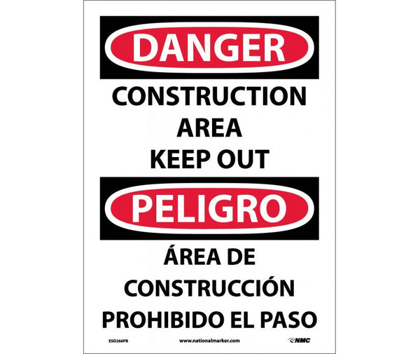 ESD266 National Marker Bilingual English and Spanish Signs Danger Construction Area Keep Out