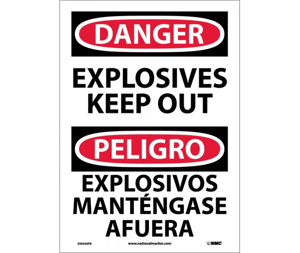 ESD436 National Marker Bilingual English and Spanish Signs Danger Explosives Keep Out