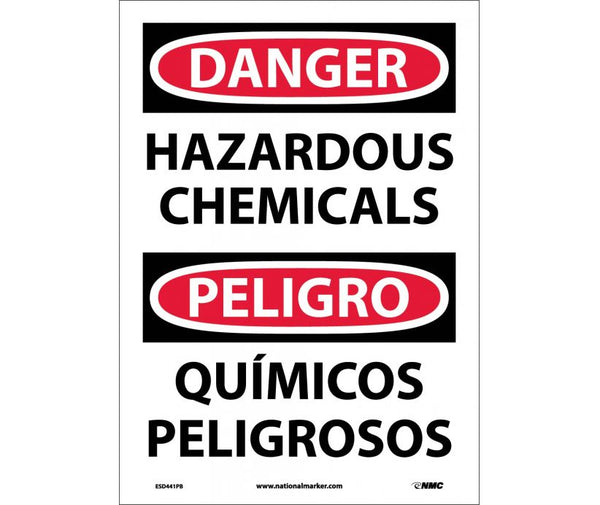 ESD441 National Marker Bilingual English and Spanish Signs Danger Hazardous Chemicals