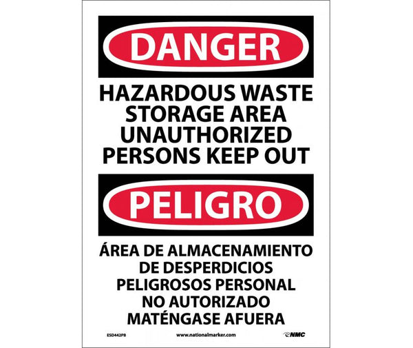 ESD442 National Marker Bilingual English and Spanish Signs Danger Hazardous Waste Storage Area Unauthorized Persons Keep Out