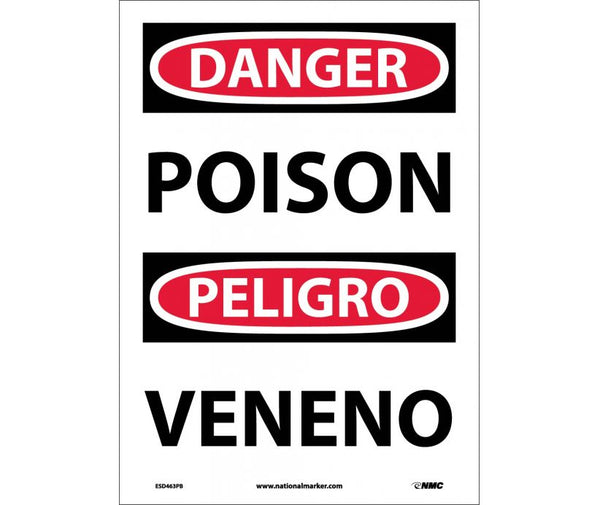 ESD463 National Marker Bilingual English and Spanish Signs Danger Poision
