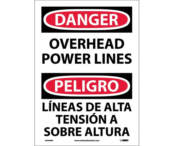ESD468 National Marker Bilingual English and Spanish Signs Danger Overhead Power Lines