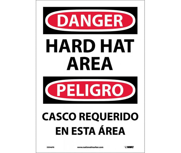 ESD46 National Marker Bilingual English and Spanish Signs Danger Hard Hat Area