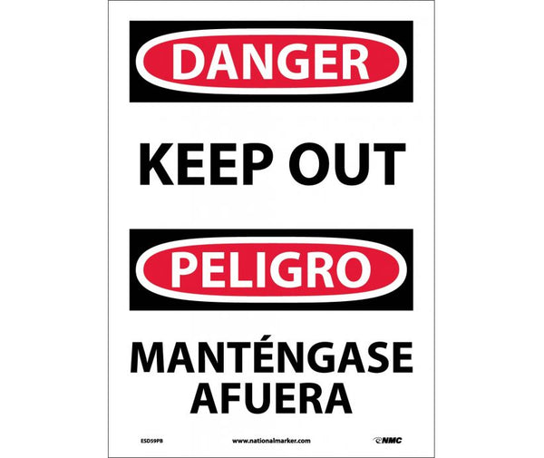ESD59 National Marker Bilingual English and Spanish Signs Danger Keep Out