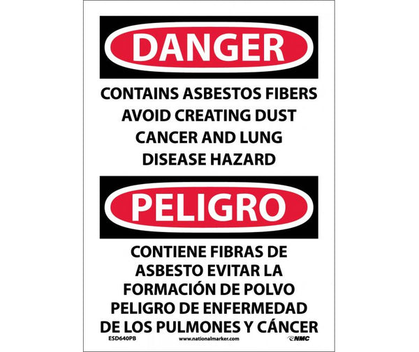 ESD640 National Marker Bilingual English and Spanish Signs Danger Contain Asbestos Fibers Avoid Creating Dust Cancer and Lung Disease Hazard