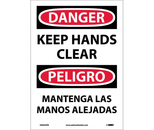 ESD654 National Marker Bilingual English and Spanish Signs Danger Keep Hands Clear