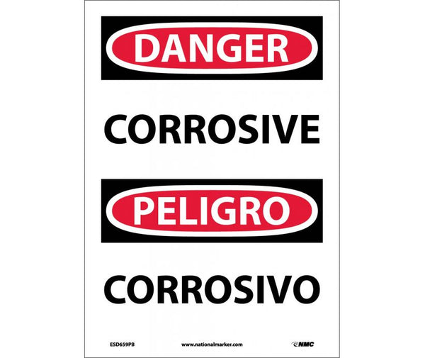 ESD659 National Marker Bilingual English and Spanish Signs Danger Corrosive