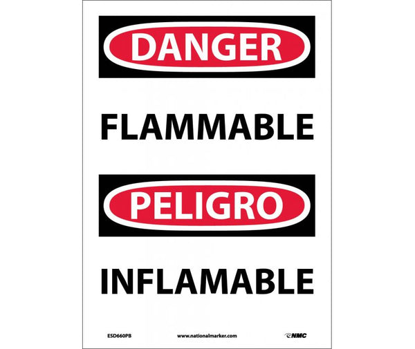 ESD660 National Marker Bilingual English and Spanish Signs Danger Flammable