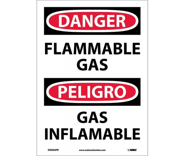 ESD663 National Marker Bilingual English and Spanish Signs Danger Flammable Gas