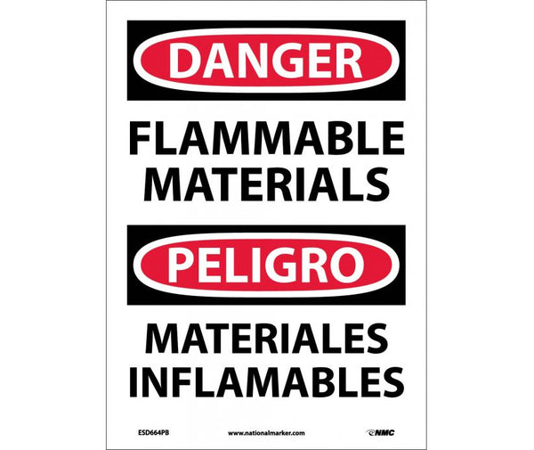 ESD664 National Marker Bilingual English and Spanish Signs Danger Flammable Materials