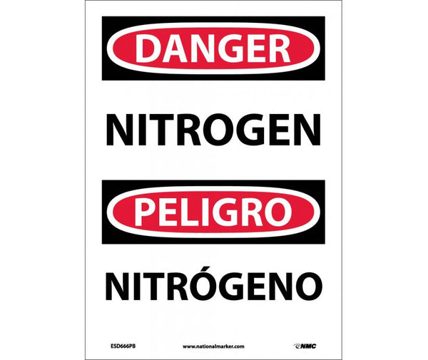 ESD666 National Marker Bilingual English and Spanish Signs Danger Nitrogen