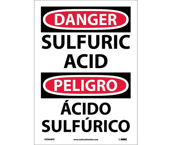 ESD668 National Marker Bilingual English and Spanish Signs Danger Sulfuric Acid