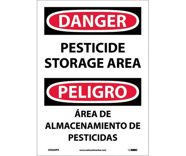 ESD669 National Marker Bilingual English and Spanish Signs Danger Pesticide Storage Area