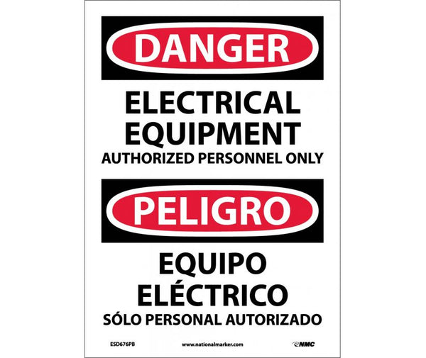 ESD676 National Marker Bilingual English and Spanish Signs Danger Electrical Equipment Authorized Personnel Only