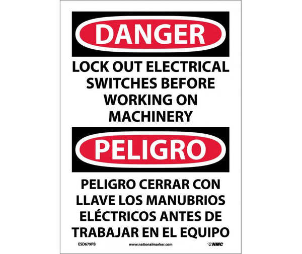ESD679 National Marker Bilingual English and Spanish Signs Danger Lock Out Electrical Switches Before Working On Machinery