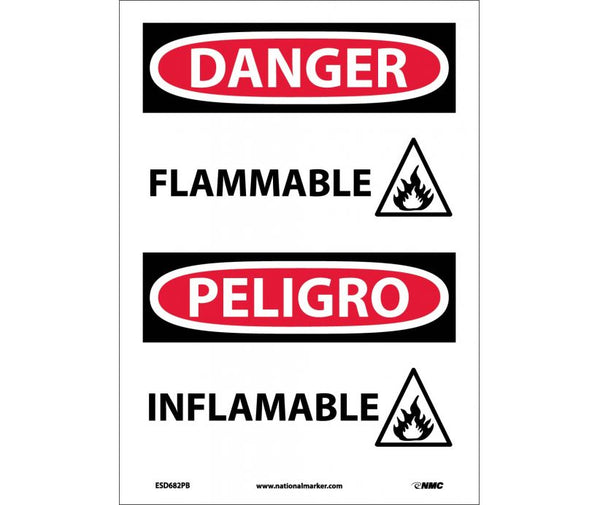ESD682 National Marker Bilingual English and Spanish Signs Danger Flammable