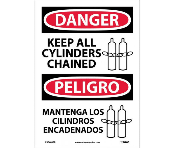 ESD683 National Marker Bilingual English and Spanish Signs Danger Keep All Cylinders Chained