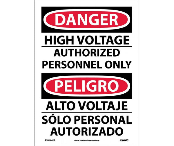ESD684 National Marker Bilingual English and Spanish Signs Danger High Voltage Authorized Personnel Only