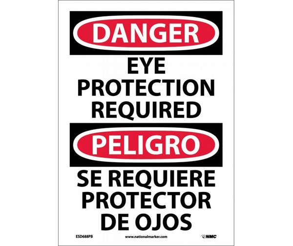 ESD688 National Marker Bilingual English and Spanish Signs Danger Eye Protection Required