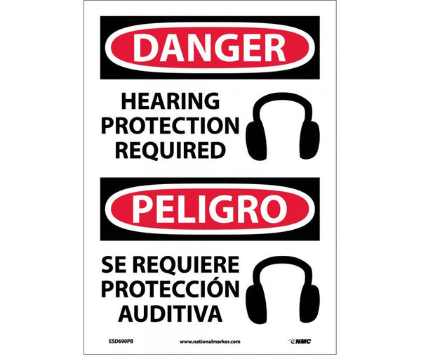 ESD690 National Marker Bilingual English and Spanish Signs Danger Hearing Protection Required