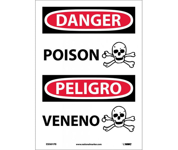 ESD691 National Marker Bilingual English and Spanish Signs Danger Poision