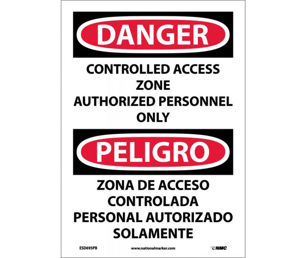ESD695 National Marker Bilingual English and Spanish Signs Danger Construction Access Zone Authorized Personnel Only