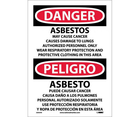 Asbestos May Cause Cancer: Danger Bilingual Safety Signs (ESD95) | Each