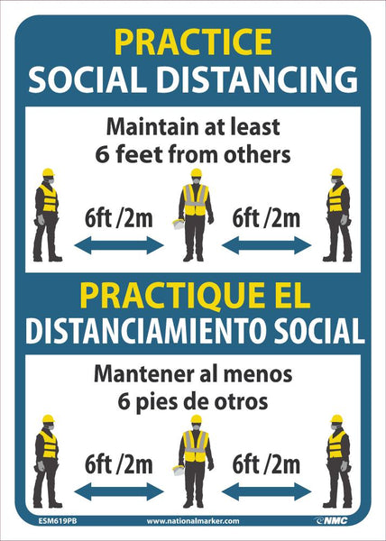 Practice Social Distancing Maintain Adleast 6 Feet From Others Bilingual Safety Signs | ESM619PB | 14