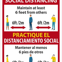 "Practice Social Distancing Maintain Adleast 6 Feet From Others Bilingual Safety Signs | ESM620PB | 14"" x 10"" 