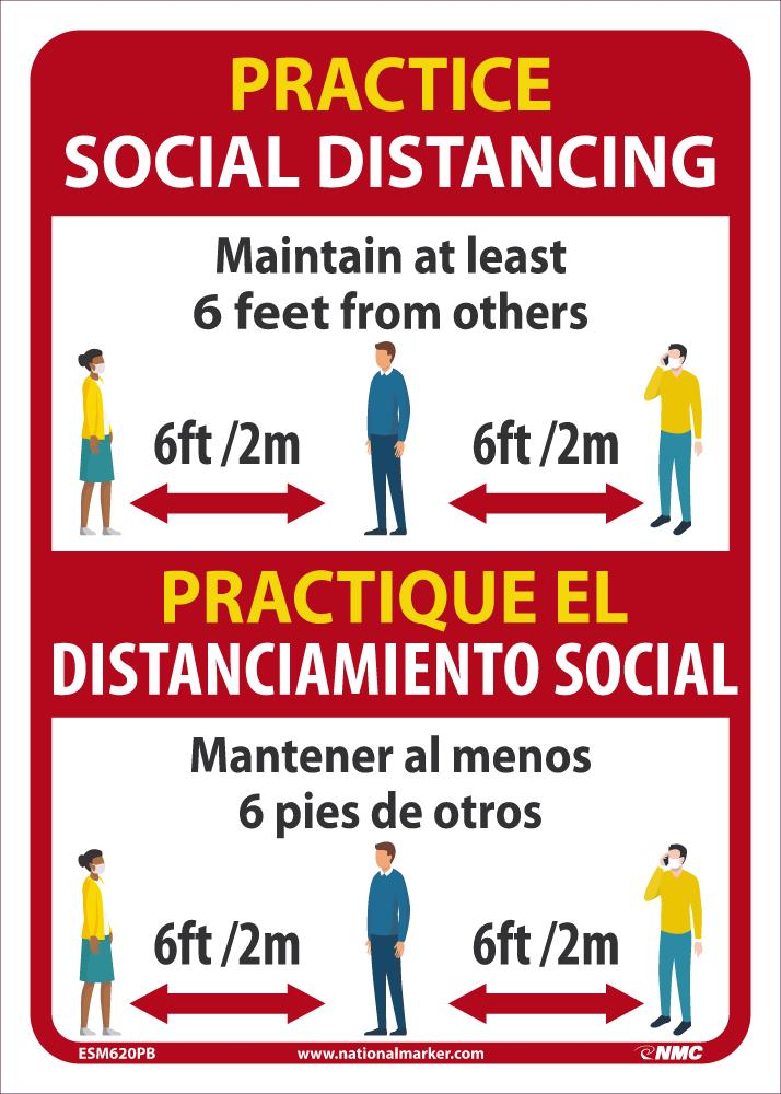 Practice Social Distancing Maintain Adleast 6 Feet From Others Bilingual Safety Signs | ESM620PB | 14