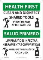 "Health First Clean And Disinfect Shared Tools Bilingual Safety Signs | ESM631AB | 14"" x 10"" 