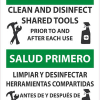 "Health First Clean And Disinfect Shared Tools Bilingual Safety Signs | ESM631PB | 14"" x 10"" 