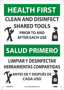 "Health First Clean And Disinfect Shared Tools Bilingual Safety Signs | ESM631RB | 14"" x 10"" 