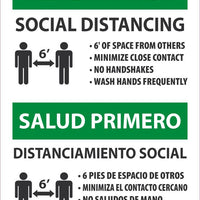 "Health First Social Distancing Bilingual Safety Signs | ESM636AB | 14"" x 10"" 