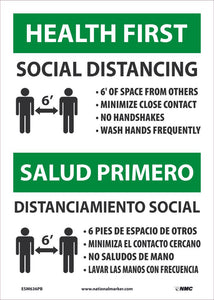 "Health First Social Distancing Bilingual Safety Signs | ESM636PB | 14"" x 10"" 
