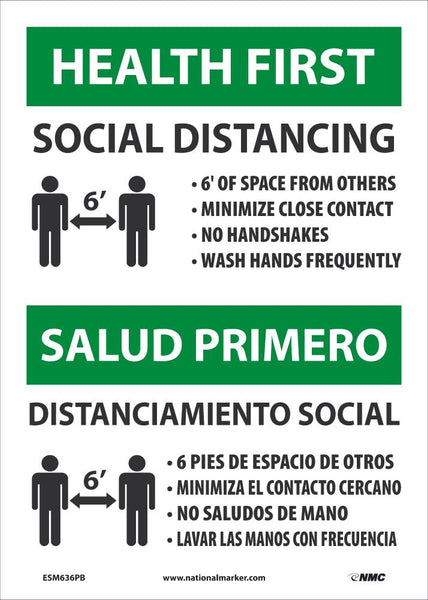 Health First Social Distancing Bilingual Safety Signs | ESM636PB | 14