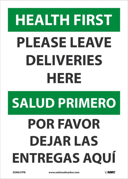 Health First Please Leave Deliveries Here Bilingual Safety Signs | ESM637PB | 14