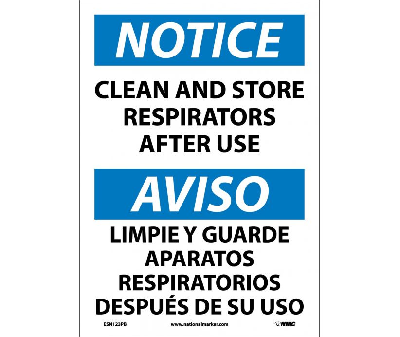 "ESN123PB National Marker Notice Store and Clean Respirators Bilingual Safety Sign 14"" x 10"" .004 Adhesive Backed Vinyl"