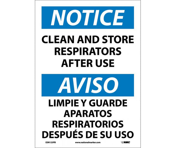 ESN123 National Marker Bilingual English and Spanish Signs Notice Clean And Store Respirators After Use