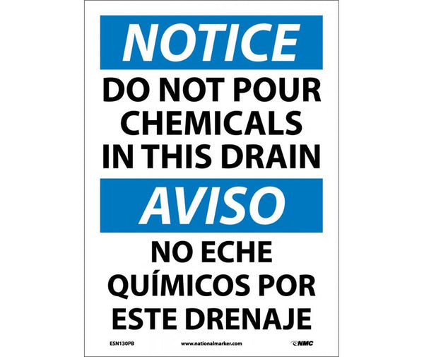 ESN130 National Marker Bilingual English and Spanish Signs Notice Do Not Pour Chemicals In This Drain