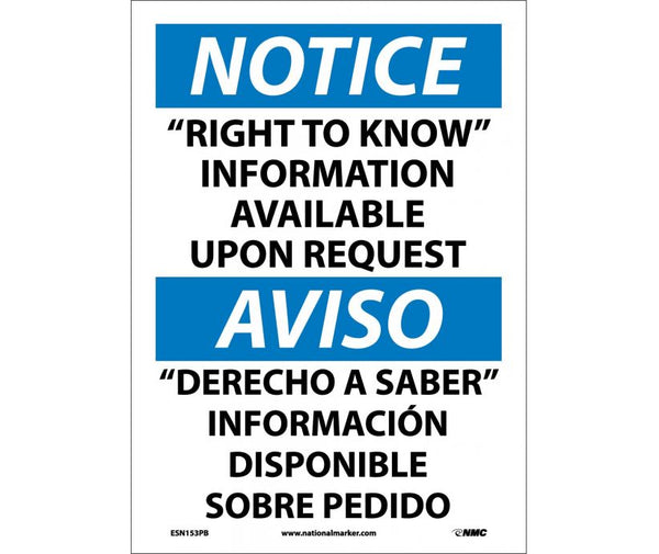 ESN153 National Marker Bilingual English and Spanish Signs Notice Right To Know Information Available Upon Request