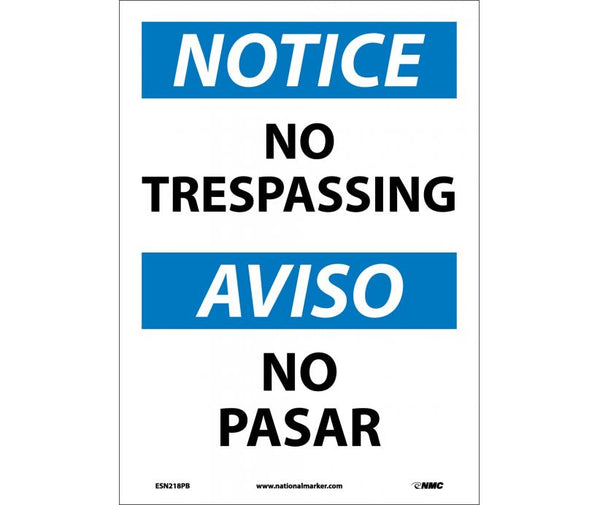ESN218 National Marker Bilingual English and Spanish Signs Notice No Trespassing
