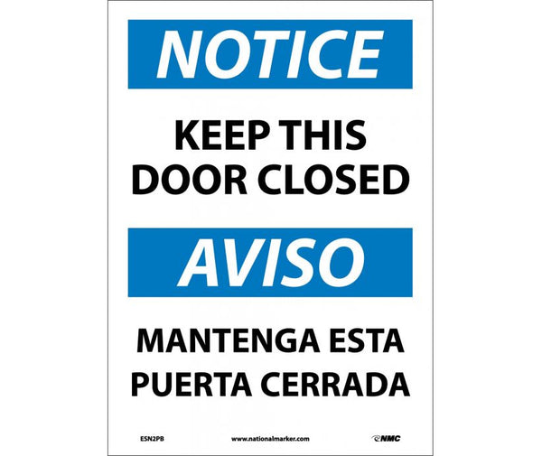 ESN2 National Marker Bilingual English and Spanish Signs Notice Keep Door Closed