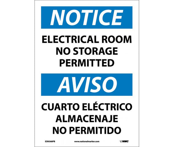 ESN368 National Marker Bilingual English and Spanish Signs Notice Electrical Room No Storage Permitted