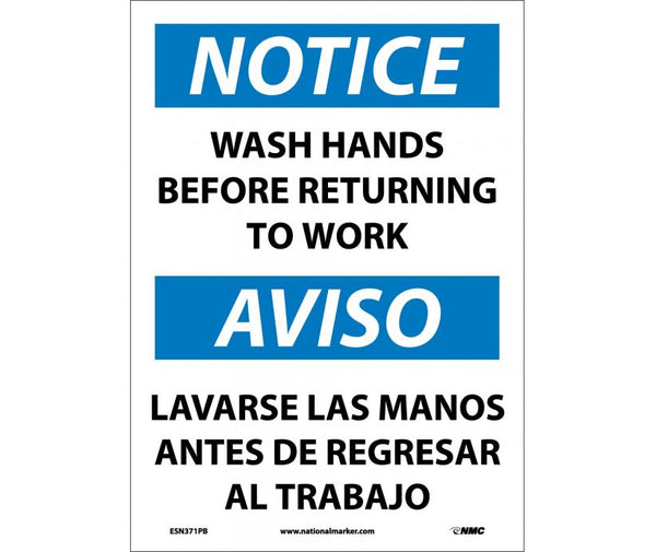 ESN371 National Marker Bilingual English and Spanish Signs Notice Wash Hands Before Returning To Work