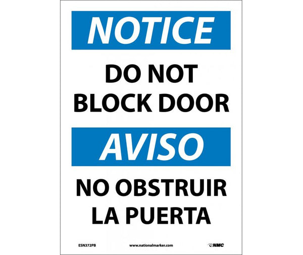 ESN372 National Marker Bilingual English and Spanish Signs Notice Do Not Block Door