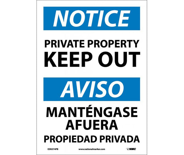 ESN374 National Marker Bilingual English and Spanish Signs Notice Private Property Keep Out
